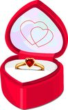 Box. Ruby Ring in red heart shaped box isolated on white background Stock Image