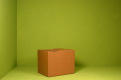 Box. On a green background royalty free stock image