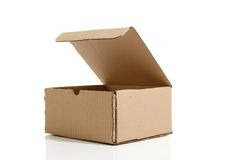 Box. On white background, open and empty royalty free stock photos