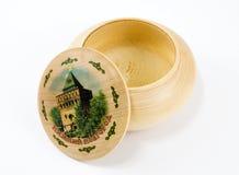 Box. Round wooden box Nizhny-Novgorod, on a white background Royalty Free Stock Photography