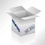 Box with air mail seal Stock Photo