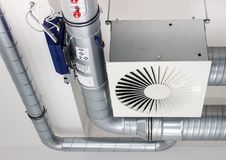 Air ventilation in an laboratory environment. Box of an air ventilation system built in an laboratory environment Stock Image