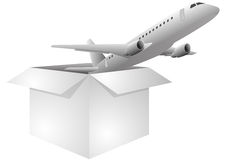 Box airplane. Illustration of white box with airplane vector illustration