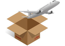 Box airplane. Illustration of brown box with airplane Royalty Free Stock Photos