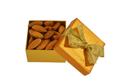 The box with almond Stock Image