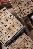 Box of alphabet stamps Stock Photography