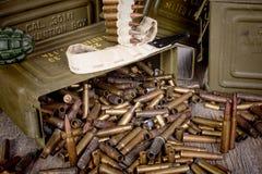 Box of ammunition with empty cartridges Royalty Free Stock Image