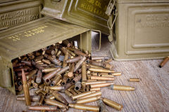 Box of ammunition with empty cartridges Royalty Free Stock Photography