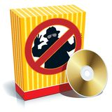 Box with anti-spy sign. Blank 3d box with anti-spy sign and CD Royalty Free Stock Photo