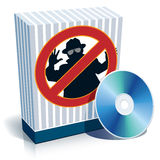 Box with anti-spy sign and CD. Blue blank 3d box with anti-spy sign and CD Royalty Free Stock Photo