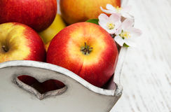 Box with apples and apple tree blossoms Royalty Free Stock Image