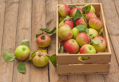 Box of apples on wooden table Stock Photos