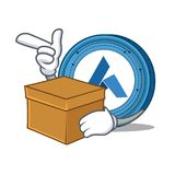 With box Ardor coin character cartoon. Vector illustration Stock Images