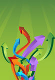 Box with Arrows. 3D Arrows coming flow up in a green background Royalty Free Stock Images