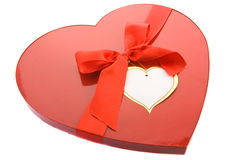 Box as a heart. Red box as a heart with ribbon on white background Royalty Free Stock Photos