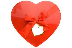Box as heart. Red box as heart with ribbon on white background Royalty Free Stock Images