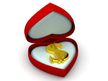 Box as heart with  dollar Royalty Free Stock Photo