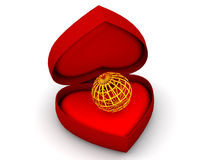Box as heart with  a globe. Very beautiful three-dimensional illustration, figure. Box as heart with  a globe. 3d Royalty Free Stock Image