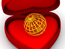 Box as heart with  a globe. Very beautiful three-dimensional illustration, figure. Box as heart with  a globe. 3d Stock Photo