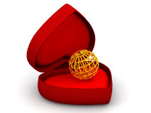 Box as heart with  a globe. Very beautiful three-dimensional illustration, figure.Box as heart with  a globe. 3d Royalty Free Stock Photo