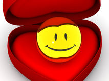Box as heart with  a smile. Stock Photos