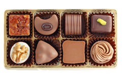 Box of assorted chocolates. On white background Royalty Free Stock Photography
