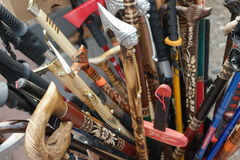 Box of assorted decorative walking sticks Royalty Free Stock Photos