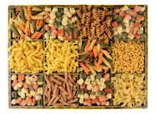Box of Assorted Pastas Stock Photos