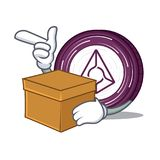 With box Augur coin character cartoon. Vector illustration Stock Photos