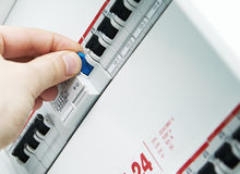 Box with automatic fuses. Closeup view of a box with automatic fuses Royalty Free Stock Photo