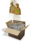 Box and Bags of Cash. Royalty Free Stock Images