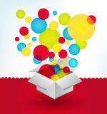 Box with balloons. White box with many balloons Royalty Free Stock Images
