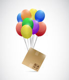 Box and balloons illustration design Stock Images