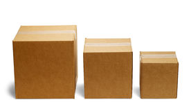 Box Bars. Three Boxes in a Row From Large to Small Isolated on a White Background Stock Photo