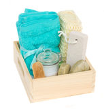 Box of bath accessories Stock Photo