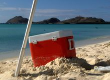 Box on the beach. A box for foods on a tropical beach Royalty Free Stock Images