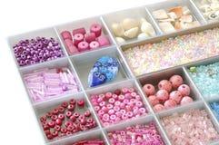 Box of Beads. Closeup shot of beads in a box Stock Photos