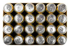Box of beer cans isolated on white Royalty Free Stock Photo