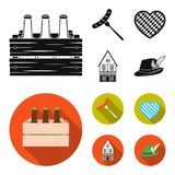 Box with beer, fried sausage, heart of the festival, bavarian cottage. Oktoberfest set collection icons in black, flat. Style vector symbol stock illustration Stock Image
