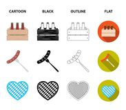 Box with beer, fried sausage, heart of the festival, bavarian cottage. Oktoberfest set collection icons in cartoon,black. Outline,flat style vector symbol stock Stock Image