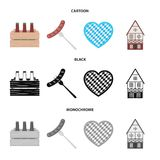 Box with beer, fried sausage, heart of the festival, bavarian cottage. Oktoberfest set collection icons in cartoon,black. Monochrome style vector symbol stock Royalty Free Stock Photos
