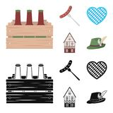 Box with beer, fried sausage, heart of the festival, bavarian cottage. Oktoberfest set collection icons in cartoon,black. Style vector symbol stock illustration Stock Photography