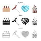 Box with beer, fried sausage, heart of the festival, bavarian cottage. Oktoberfest set collection icons in cartoon,black. Outline style vector symbol stock Royalty Free Stock Photos