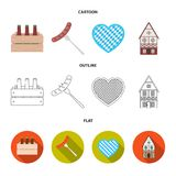 Box with beer, fried sausage, heart of the festival, bavarian cottage. Oktoberfest set collection icons in cartoon. Outline,flat style vector symbol stock Royalty Free Stock Photography