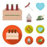 Box with beer, fried sausage, heart of the festival, bavarian cottage. Oktoberfest set collection icons in cartoon,flat. Style vector symbol stock illustration Stock Image