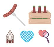 Box with beer, fried sausage, heart of the festival, bavarian cottage. Oktoberfest set collection icons in cartoon style. Vector symbol stock illustration Stock Photography
