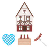 Box with beer, fried sausage, heart of the festival, bavarian cottage. Oktoberfest set collection icons in cartoon style. Vector symbol stock illustration Royalty Free Stock Photography