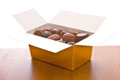 Box with Belgian chocolate Royalty Free Stock Photos