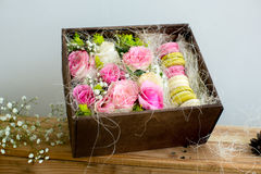 Box with berry spring color macaroons Stock Photography