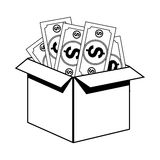 Box with bills icon Stock Photo